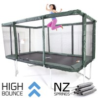 GeeTramp Force 9x14ft Rectangle Trampoline - High Bounce /w NZ Springs