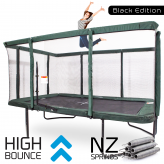 GeeTramp Force 9x14ft Rectangle Trampoline - Black Edition - High Bounce /w NZ Springs
